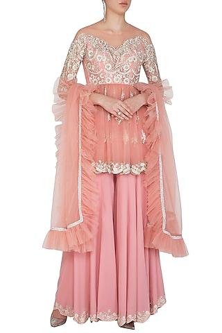 Powder Pink Embroidered Sharara Set by Mansi Malhotra