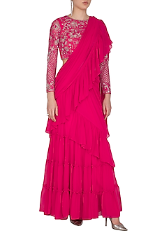 Fuchsia Pink Embroidered Pre-Draped Saree Set by Mansi Malhotra