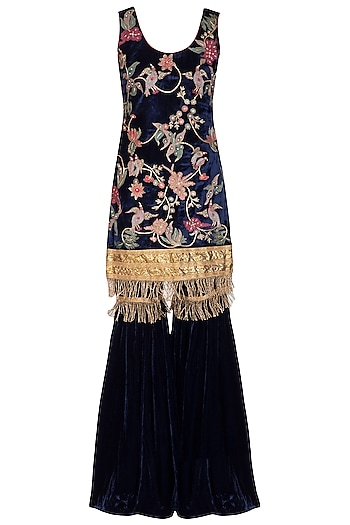 Navy Blue Embroidered Gharara Set by Mansi Malhotra
