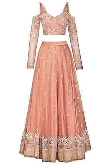 Salmon Pink Embroidered Lehenga Set by Mansi Malhotra