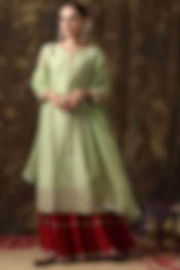 Red & Light Green Crush Cotton Sharara Set by Maison Shefali