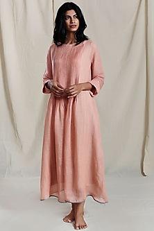 Peach Linen Pintuck Maxi Dress by Mati