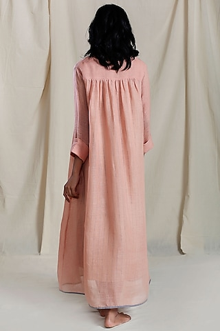 Peach Linen Pintuck Maxi Dress by Mati