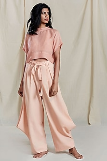 Peach Pleated Cowl Pants by Mati