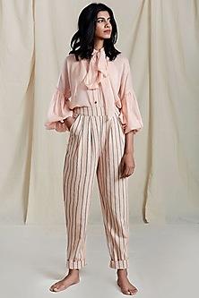 Peach Puff Sleeves & Necktie Shirt by Mati