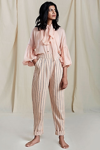 Peach Puff Sleeves & Necktie Shirt by Mati