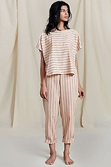 Peach Striped Printed Pants by Mati