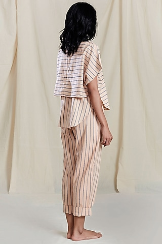 Peach Striped Printed Pants by Mati