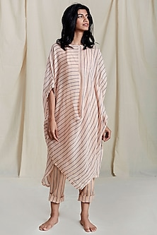 Peach Striped Printed Tunic by Mati