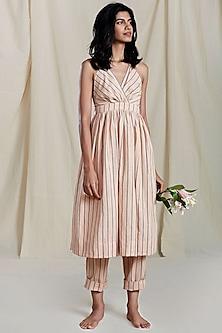Peach Striped Printed Dress by Mati