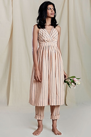 Peach Striped Printed Dress by Mati
