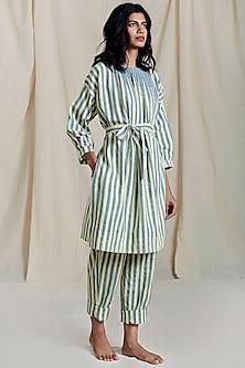 Powder Blue Striped Printed Pleated Dress by Mati
