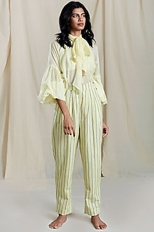 Yellow Gathered Sleeves & Necktie Shirt by Mati