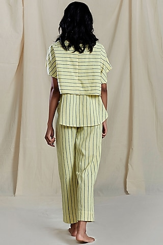 Yellow Striped Printed Pants by Mati