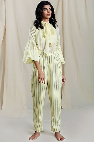 Yellow Striped Printed Petal Pants by Mati