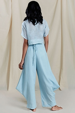 Blue Cowl Pleated Pants by Mati