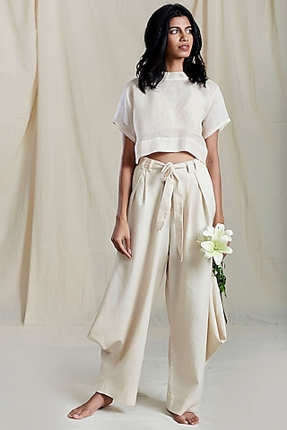 Beige Pleated Cowl Pants by Mati