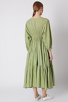 Green Striped Dress With Drawstring by Mati