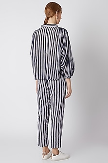 Blue Striped Shirt With Pleated Shoulders by Mati