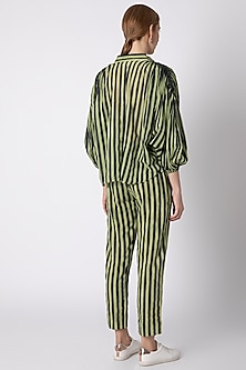 Green Striped Shirt With Pleated Shoulders by Mati