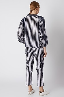 Blue & White Pants With Stripes by Mati