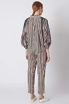 Purple & White Pants With Stripes by Mati