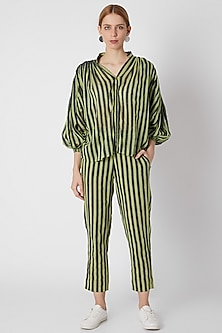 Green & White Pants With Stripes by Mati