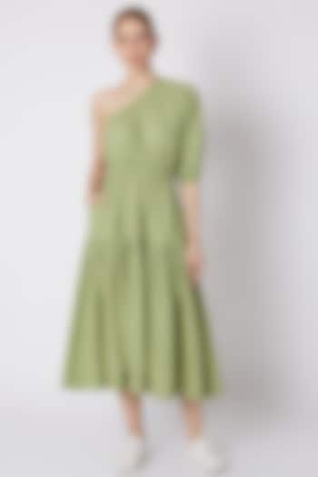 Green Striped One Shoulder Dress by Mati
