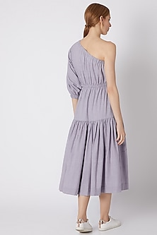 Lavender Striped One Shoulder Dress by Mati