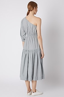 Light Blue Striped One Shoulder Dress by Mati