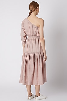 Salmon Pink Striped One Shoulder Dress by Mati