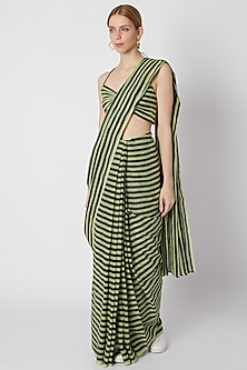 Green & Dark Blue Striped Saree by Mati