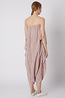 Salmon Pink Striped Dhoti Jumpsuit by Mati