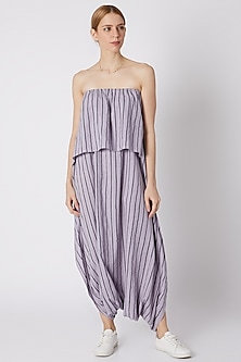 Lavender Striped Dhoti Jumpsuit by Mati