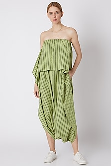 Green Striped Dhoti Jumpsuit by Mati