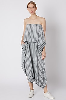 Blueish Grey Striped Dhoti Jumpsuit by Mati