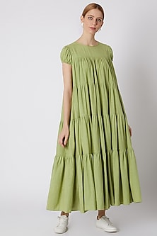 Green Tiered Maxi Dress by Mati