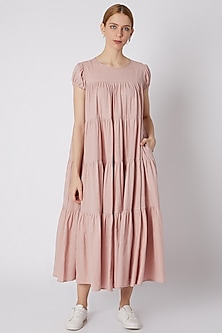 Salmon Pink Tiered Maxi Dress by Mati