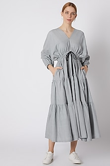 Blueish Grey Striped Dress With Drawstring Bow-Tie by Mati