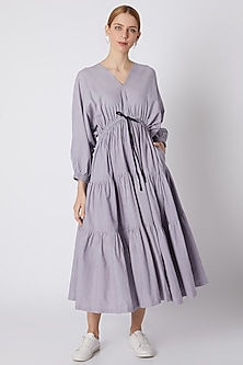 Lavender Striped Dress With Drawstring Bow-Tie by Mati