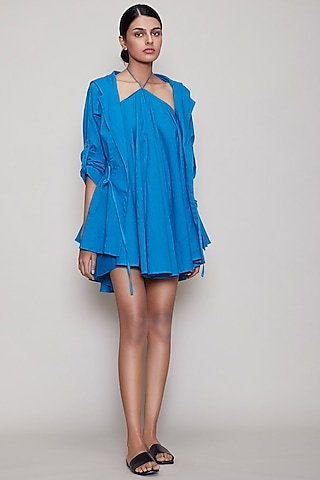 Blue Hooded Jacket Set by Mati