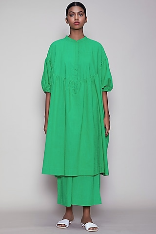 Green Handwoven Cotton Kaftan Tunic by Mati