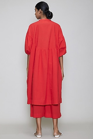 Red Handwoven Cotton Kaftan Tunic Set by Mati