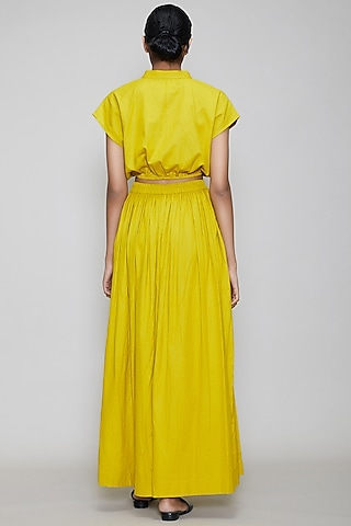 Yellow Straight Fit Skirt With Side Slit by Mati