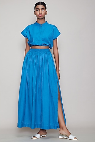 Blue Straight Fit Skirt With Side Slit by Mati