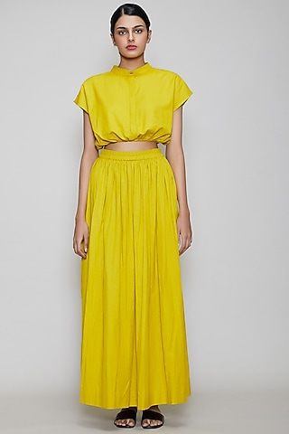Yellow Handwoven Cotton Skirt Set by Mati