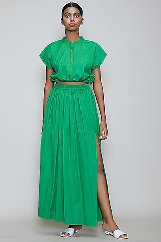 Green Handwoven Cotton Skirt Set by Mati