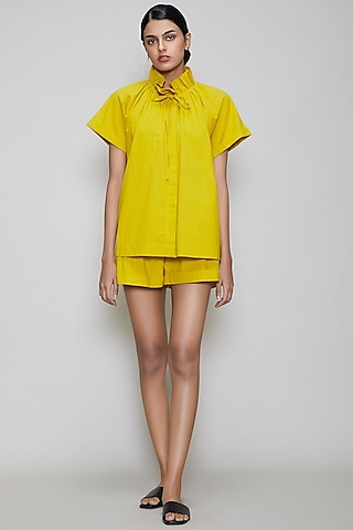 Yellow Handwoven Cotton Shirt With Shorts by Mati