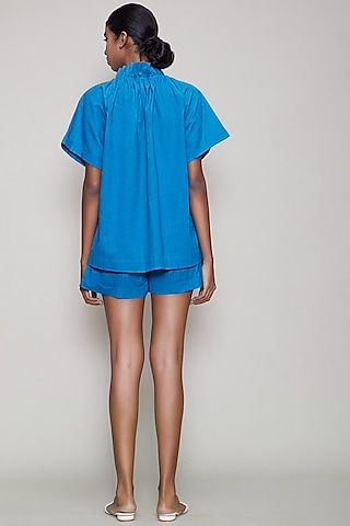Blue Handwoven Cotton Shirt With Shorts by Mati