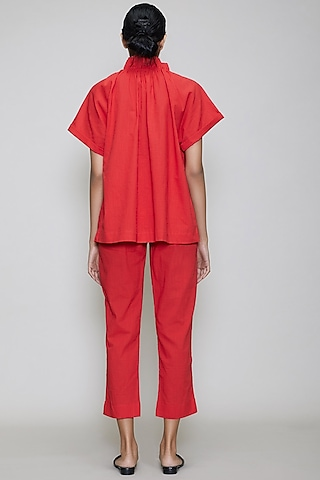 Red Handwoven Cotton Pant Set by Mati